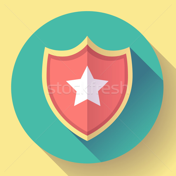 shield icon with star - protection symbol. Flat design style. Stock photo © MarySan