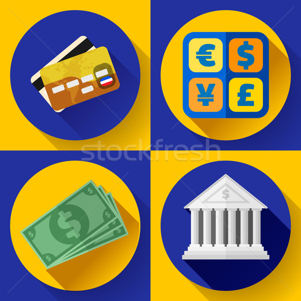 Money and bank icon set. Flat designed style Stock photo © MarySan