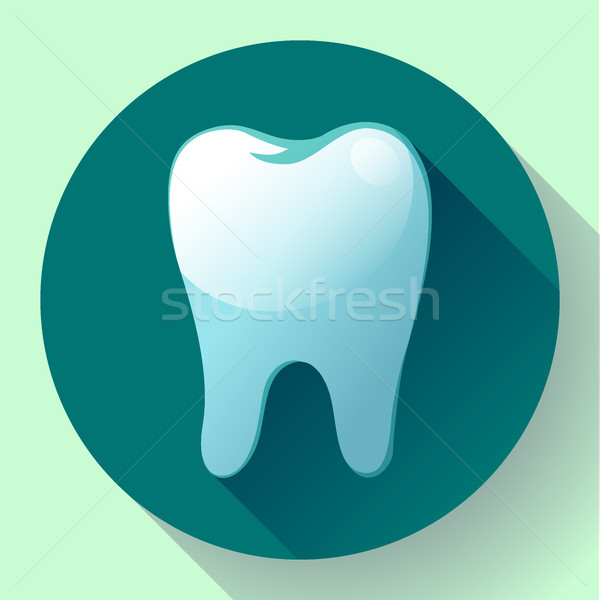 Flat tooth Icon Vector with long shadow. Dentist symbol. Suit for app and UI Stock photo © MarySan
