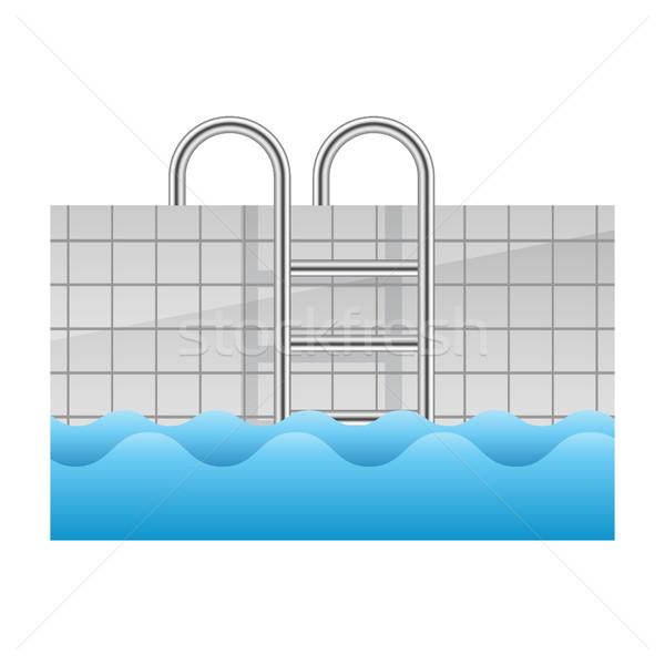Realistisch zwembad icon 3D kleur stappen Stockfoto © MarySan