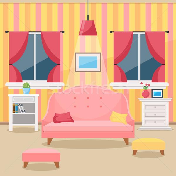 Stockfoto: Woonkamer · meubels · gezellig · interieur · stijl · vector
