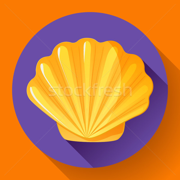 Foto stock: Ouro · mar · concha · vetor · logotipo · frutos · do · mar