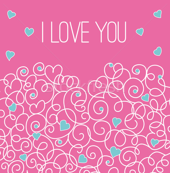 Pink greeting card with floral heart shape. I love You sign Stock photo © MarySan
