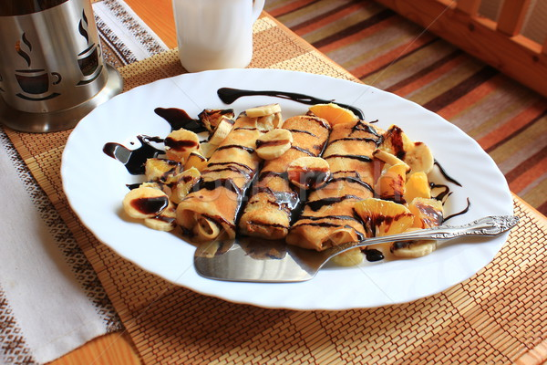 Stockfoto: Pannenkoeken · gevuld · bananen · sinaasappelen · pure · chocola · voedsel