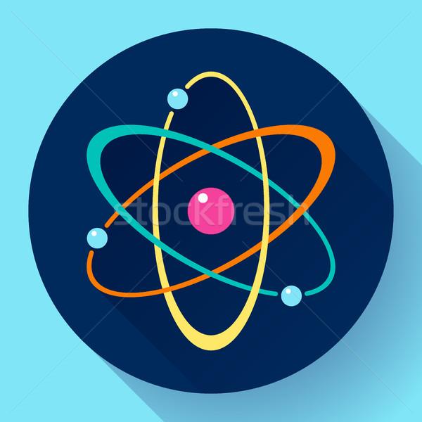 Flat atom icon Stock photo © MarySan