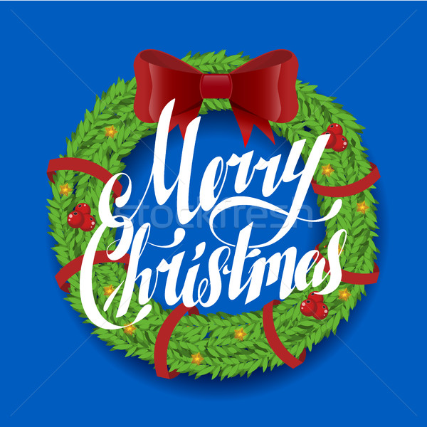 Christmas wenskaart krans vector vrolijk mode Stockfoto © MarySan