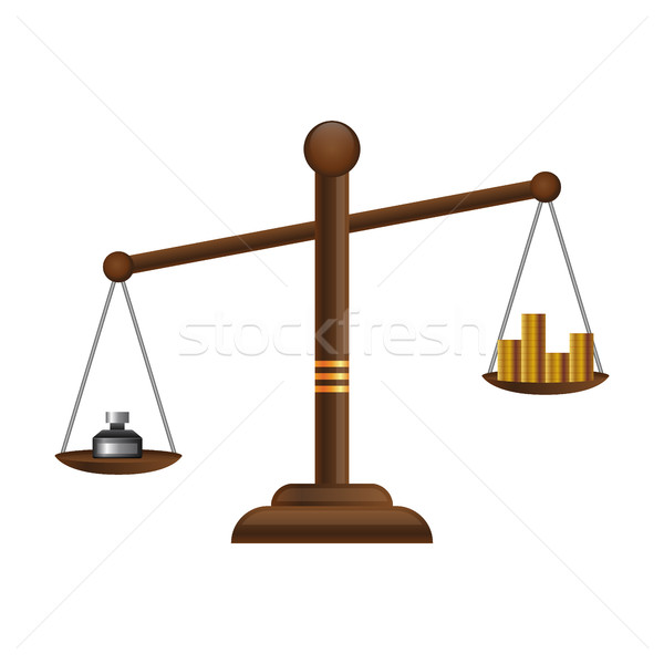 Justice scales icon. Law balance symbol. Libra flat design with gold money coins Stock photo © MarySan
