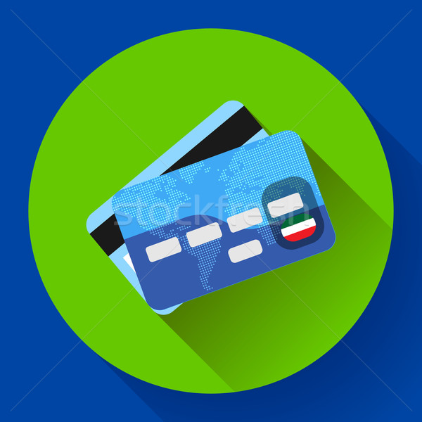 Vector Credit Card icon with long shadow. Flat design style. Stock photo © MarySan