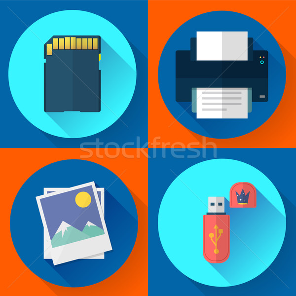set vector computer icons of photo print Stock photo © MarySan