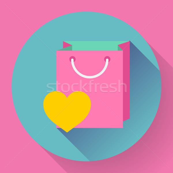 Flat-design shopping bag vector icon Stock photo © MarySan