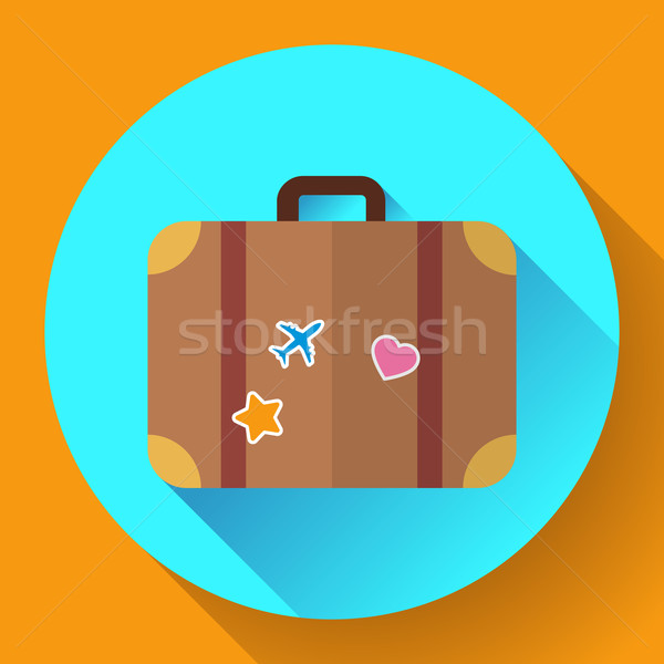 Vector vintage Travel Suitcase icon with long shadow. Flat design style Stock photo © MarySan