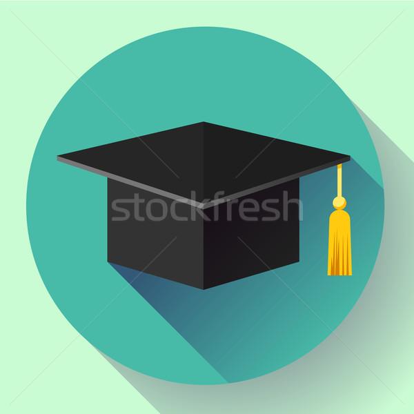 Afstuderen cap icon ontwerp stijl student Stockfoto © MarySan
