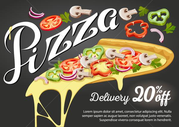 Pizza slice vector reclame ontwerp restaurant business Stockfoto © MarySan