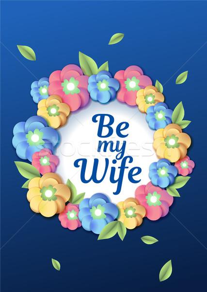 Mariage floral modèle invitation de mariage couronne carte Photo stock © MarySan