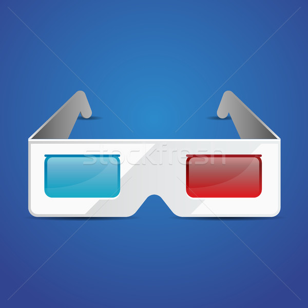 Flat anaglyph 3d glasses vector cinema icon. 3d glasses icon Stock photo © MarySan