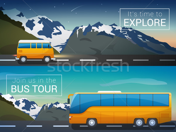 Vector travel banners set. Bus tour to Alps mountains, minibus in the wild Stock photo © MarySan