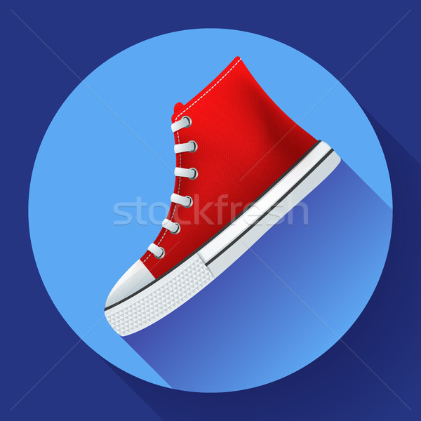 Red sneakers shoes for city running shoe flat design with long shadow Stock photo © MarySan
