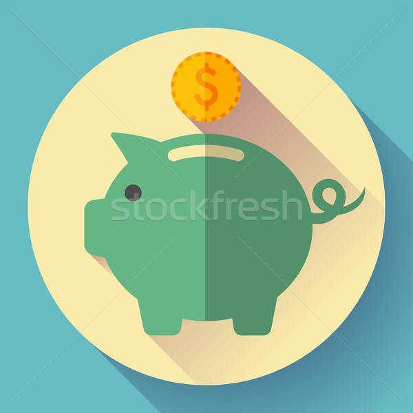Banku piggy monety ikona długo cień projektu Zdjęcia stock © MarySan