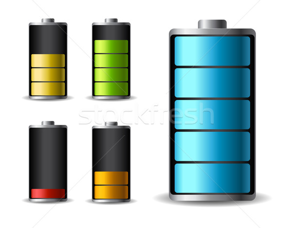 Discharged and fully charged battery smartphone - vector infographic Stock photo © MarySan