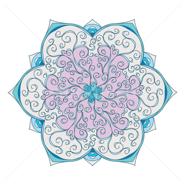 Iced Vintage Floral mandala card isolated in white Stock photo © MarySan