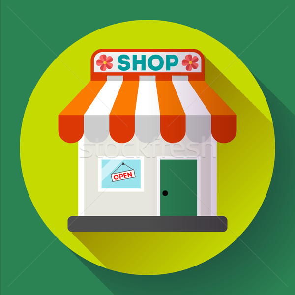 Store front vector icon Flat design small shopping center exterior illustration Stock photo © MarySan