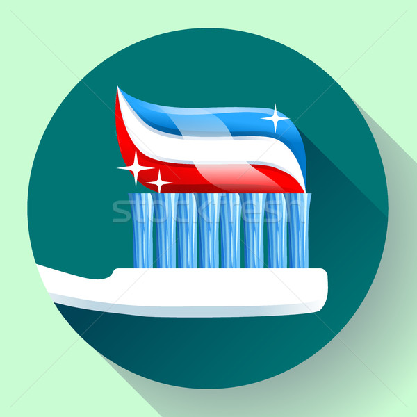 Toothbrush with toothpaste Icon flat style. Tricolor and shining sparkles Stock photo © MarySan