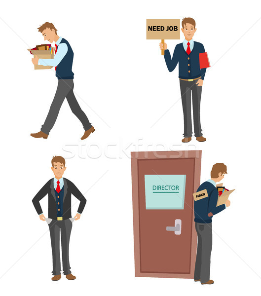 Getting fired flat vector illustration. man dismissed from work going with a box of personal belongi Stock photo © MarySan