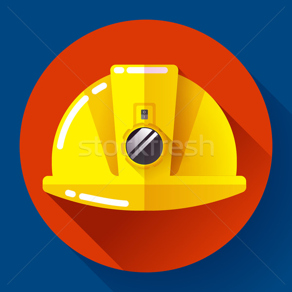 Yellow construction worker helmet with flashlight icon. Flat design style. Stock photo © MarySan