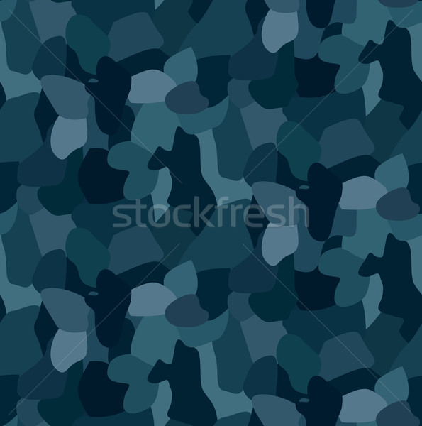 Military blue camouflage seamless pattern, For textile garment Stock photo © MarySan