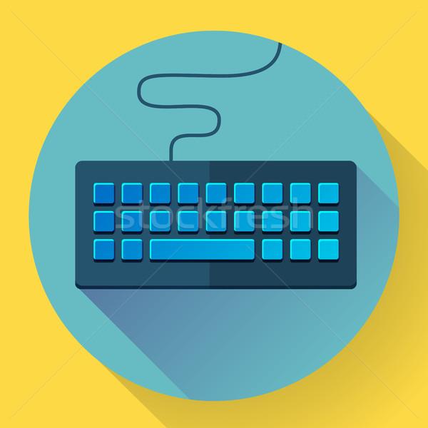 Keyboard icon with long shadow. Flat style Stock photo © MarySan