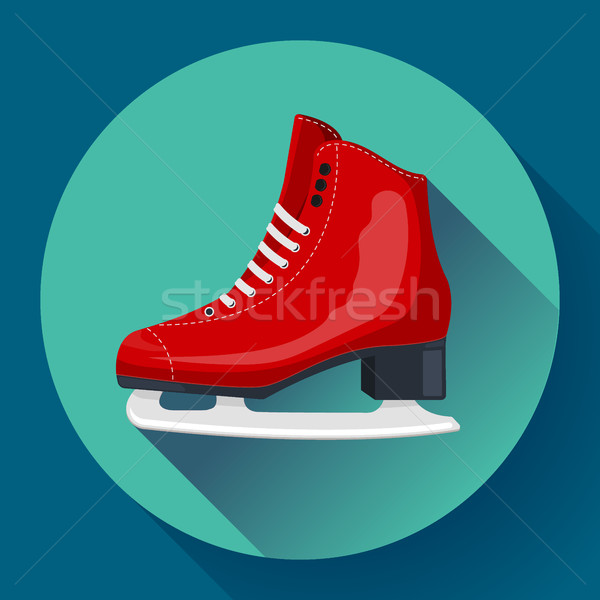 Red classic ice figure skates icon vector. Sport equipment. Side view Stock photo © MarySan