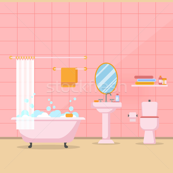 Modern bathroom interior with furniture in flat style vector Stock photo © MarySan