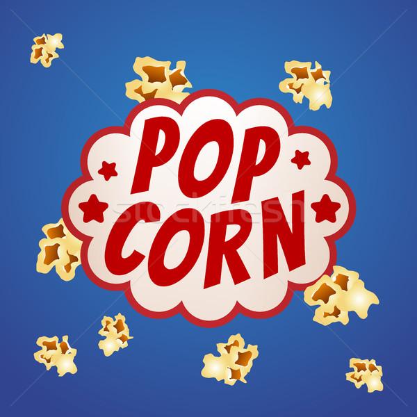 Pop Corn Sign Logo Vintage Poster Vector Illustration Vector