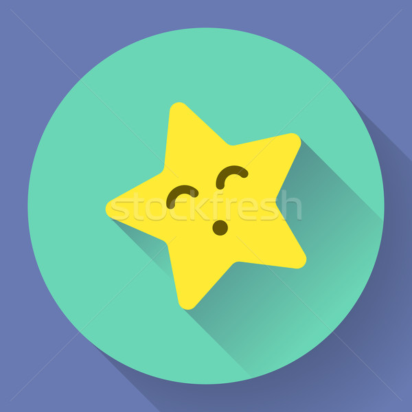 Yellow star with kiss face Vector character Stock photo © MarySan