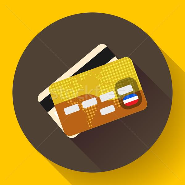 Dorado vip tarjeta de crédito icono largo sombra Foto stock © MarySan