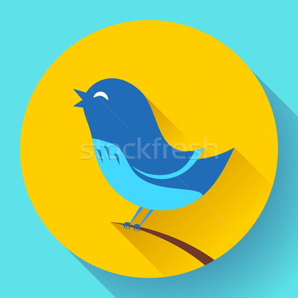 Stock photo: Bird singing vector icon. Flat design style
