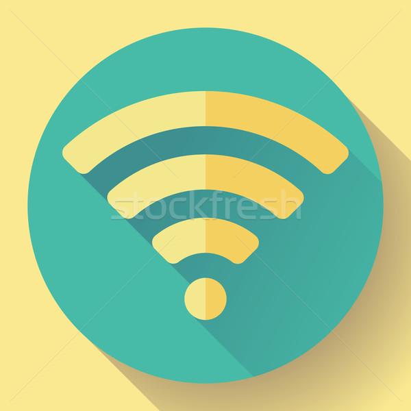 WIFI free internet connection Icon. Flat design style. Stock photo © MarySan