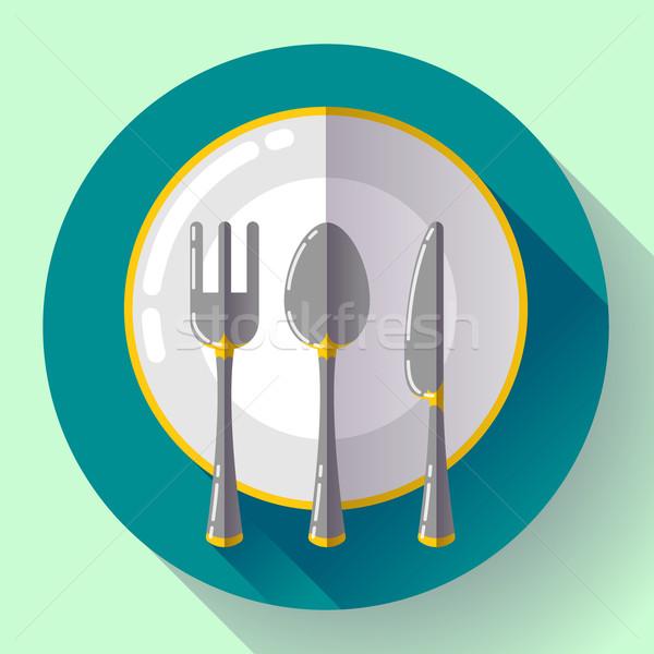Dania tablicy nóż widelec ikona wektora Zdjęcia stock © MarySan