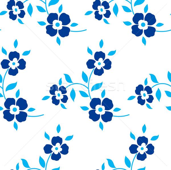 Bezszwowy kwiatowy wzór niebieski kwiaty pozostawia Zdjęcia stock © MarySan