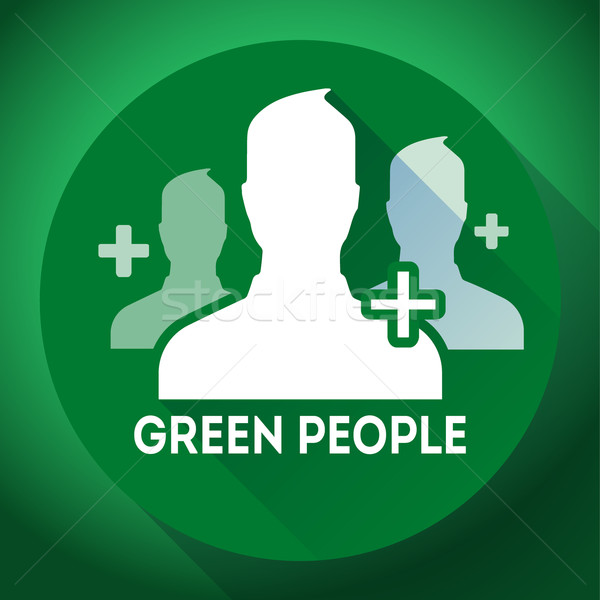 Teamwork, association of green people sign icon. Flat design style Stock photo © MarySan