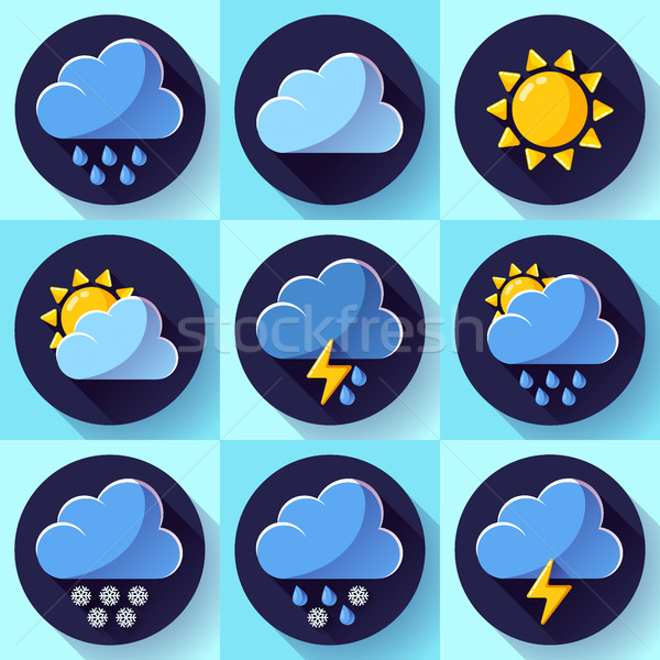 Vector flat color weather meteorology icons set with long shadow Stock photo © MarySan