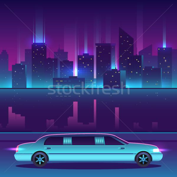 Limusine vetor noite cidade urbano paisagem Foto stock © MarySan