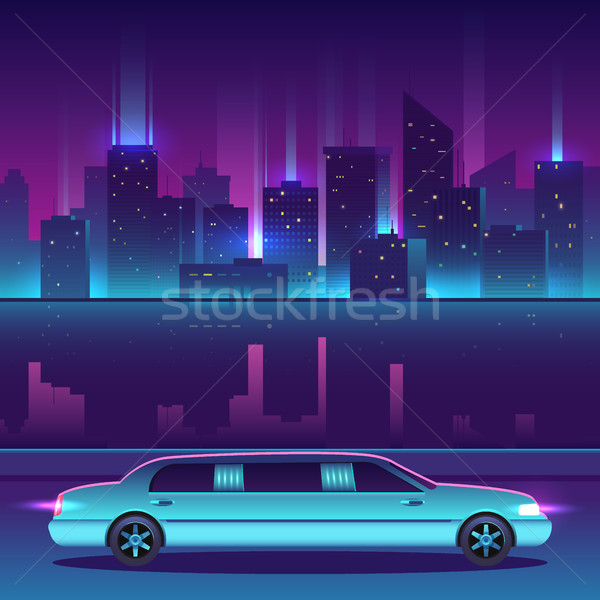 Limousine vector in front of night city urban landscape, luxury metropolis. Stock photo © MarySan