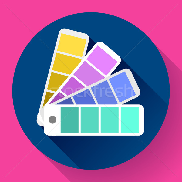 Stock photo: Color guide swatches palette - typographic fan icon. Flat design style.