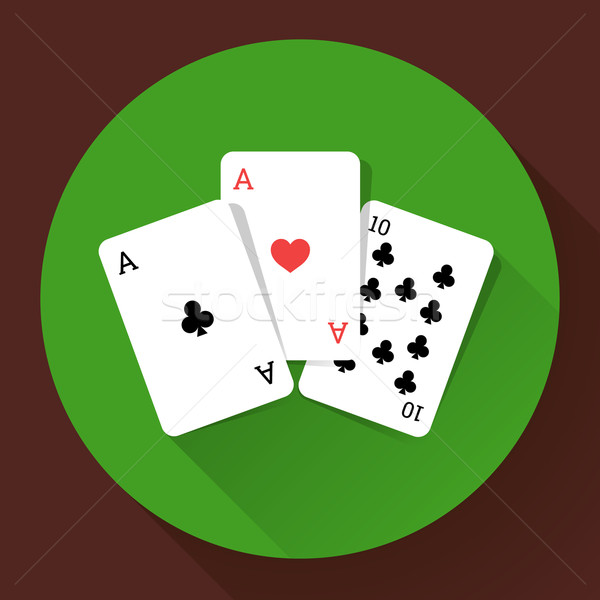 Three Playing Cards. Long shadow vector icon Stock photo © MarySan
