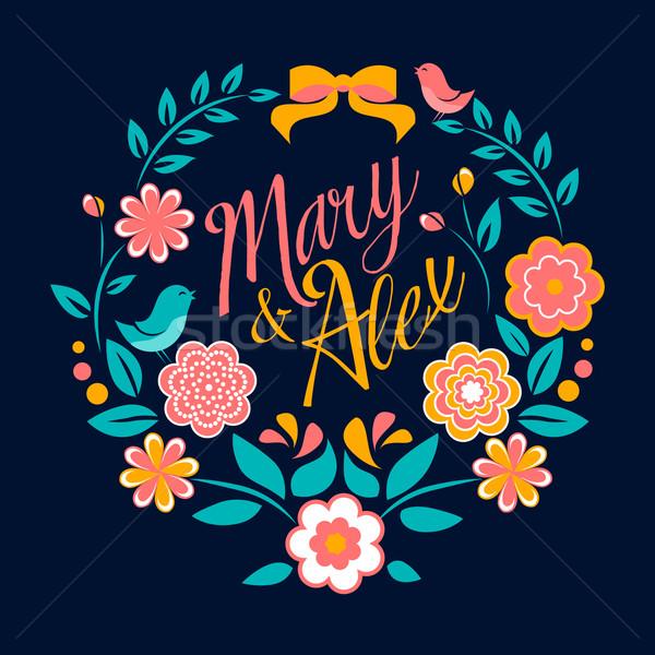 Flower wedding invitation card, Mary and Alex, greeting Stock photo © MarySan