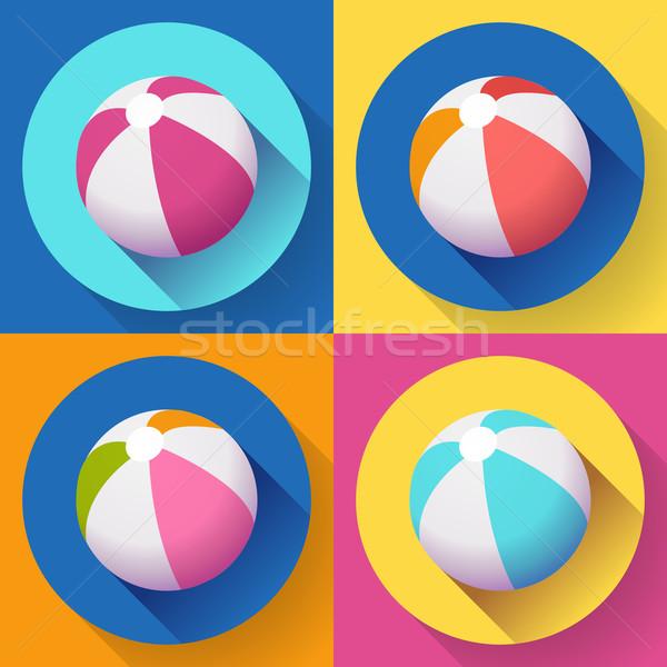 Conjunto bola de praia ícones moderno estilo longo Foto stock © MarySan