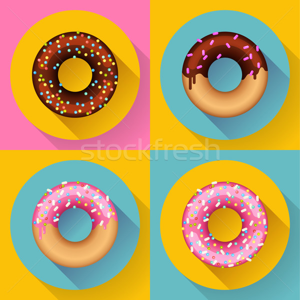 Icon Set Cute sweet colorful chocolate donuts. Flat designed style. Stock photo © MarySan