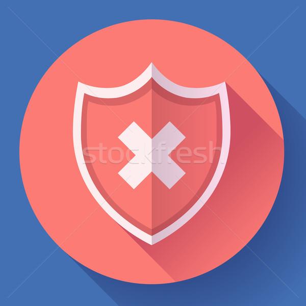 shield icon - protection symbol. Flat design style. Stock photo © MarySan