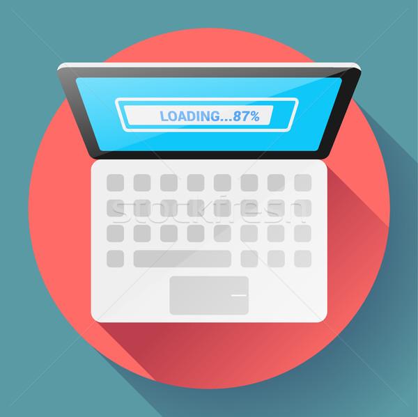 Open Laptop Top View Vector Flat Icon Stock photo © MarySan
